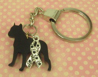 100% Animal Rescue DONATION - Gift for Her or Him Sterling Silver Ribbon Charm With Paws Keychain -  Black Acrylic Laser Cut Pit Bull