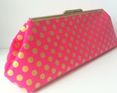 Skinny Metallic Gold Polka Dots on Pink
