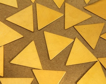 8 pc. Medium / Large Raw Brass Triangles: 25mm by 25mm - made in USA | RB-266