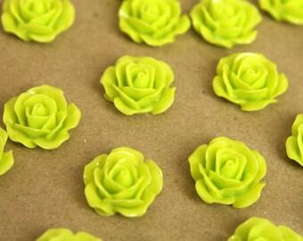 20 pc. Lime Green Crisp Petal Rose Cabochons 18mm   RES-375