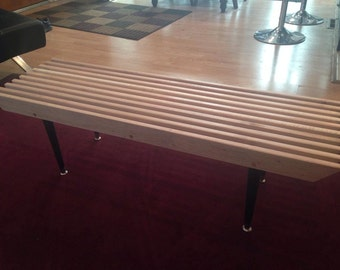 Small Solid Maple Gloss Finished Slat table/bench