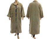 Linen maxi coat in nature, warm lined / lagenlook for plus size women / large, extra large L, XL, US size 14/16-20 / fall, winter, spring