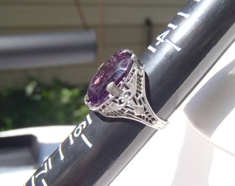 Antique Sterling Silver Filigree Amethyst Ring