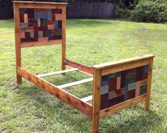 Reclaimed Wood Twin Bed Patchwork Design