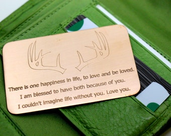 Wallet Insert Copper Card - Personalized Hand Stamped Metal - Gift Husband Boyfriend 7 Seven Year Anniversary, Anniversary