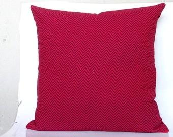 Chevron Print throw pillow in Red 16x16 Chevron cushion cover ,block print Pillow cover