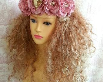 Bird skull and Flower Headdress headpiece crown tiara Hairband GOTHIC WEDDING By OpheliasFolly