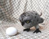 Needle Felted Grey Owl - READY TO SHIP
