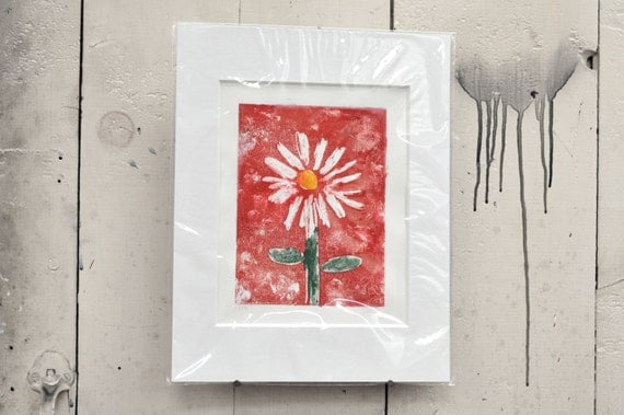 """Daisy One of a Kind Red Daisy Monotype 11x14"""" Spring Sale 20% off!!  Item 17 Joe V."""