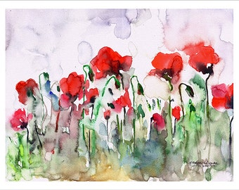 Poppies Watercolor Painting by Faruk Koksal - Print on 290 gr. Textured Fine Art Paper