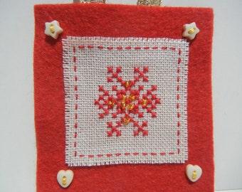 Christmas Ornament, Cross Stitch Ornament, Folk Christmas Star