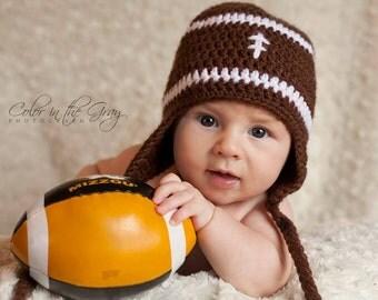 Crochet Baby Football Earflap Hat - Photo Prop