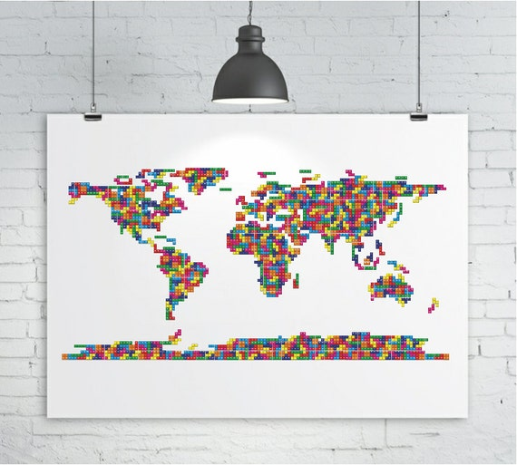 World Map Print - A Tetris Inspired Map of the World, Map Art Print Poster, Various Sizes up to A3+