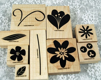 "Stampin' Up Rubber Stamps ""Bodacious Bouquet"" OR ""Buds and Blossoms"" - MINT - Spring and Summer Flowers Set - Scrapbooking, Cardmaking"