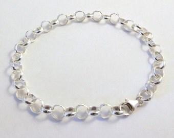 Sterling Silver 6.6mm Link Rolo Chain Bracelet