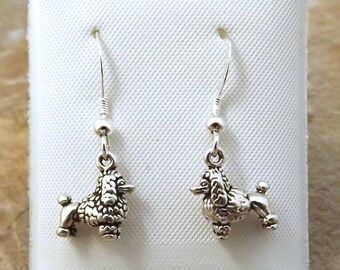 Sterling Silver Petite Poodle Dangle Earrings on Sterling Silver French Hook Ear Wires - 3068