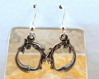 Pewter Circular Mermaid Charms on Sterling Silver Ear Wire Dangle Earrings - 5156
