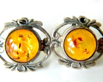 Amber Sterling Earrings Honey Cognac Art Nouveau Vintage Gem 925  Silver Collectible Jewelry