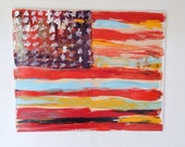 Abstract American flag original painting on wood America USA flags original art Melissa Bollen