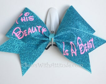 """3"""" Wide Luxury Cheer Bow - This Beauty is a Beast"""