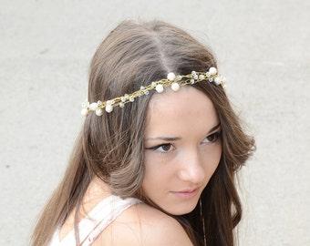 Bridal Hair Crystal  Freshwater Pearls Tiara, Crystal Halo, Wedding Crown Headband, White Gold ,headpiece, Bridal Hair Accessories