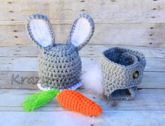 Crochet Bunny hat diaper cover.Made to order.