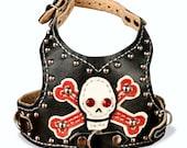 Custom Leather Dog Harness-Skull n Bones with Studs-Size Tiny thru Med.