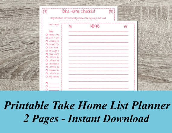 Wedding Planner Take Home Checklist Wedding Checklist Final