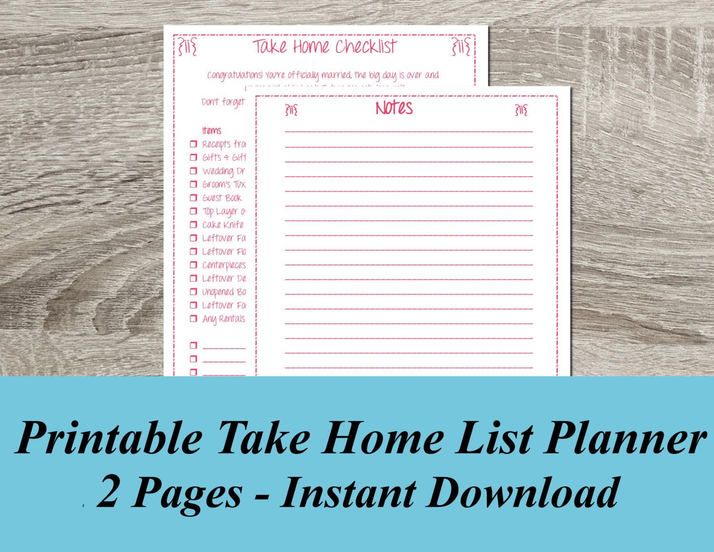 INSTANT DOWNLOAD Take Home Checklist PDF Wedding Planning 2