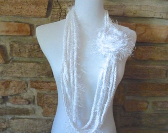 White infinity chain scarf handmade with white flower detachable pin wedding scarf