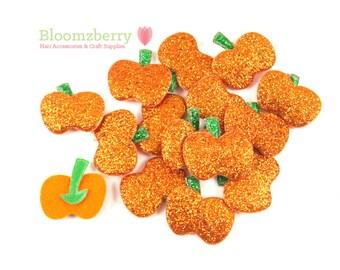 "1"" Glitter Pumpkin Padded - Orange Glitter Pumpkin Padded - Halloween Pumpkin Padded - Halloween Appliques -Hair Accessories Supplies"