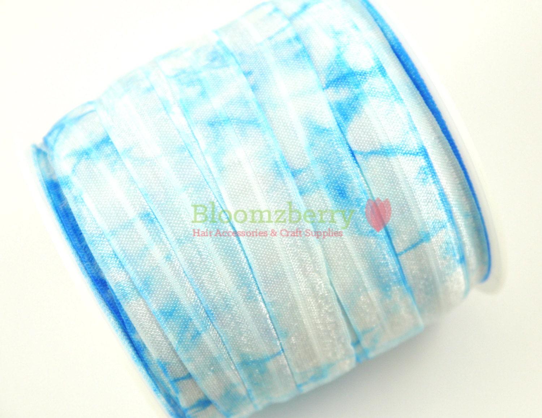 new 5 yards 5 8 tie dye fold elastic blue color