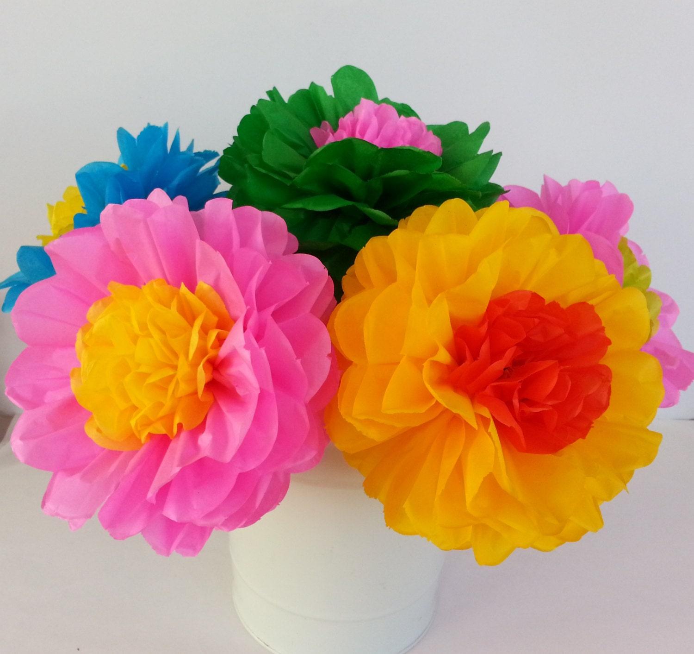 Tissue Paper Fiesta Flowers Set of 10 flowers