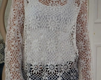 Summer Storm sweater/cover up Custom Made Cotton Size Hand Crocheted - Sizes 0 to 20