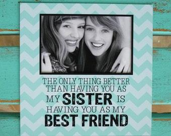 Sister gift, Sister is Best friend, Sister birthday gift, aqua, word art