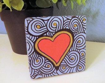 Retro Heart Design CUSTOM COLOR Small Square Keepsake, Jewelry Box or Gift Box