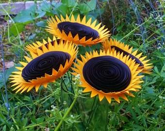 Paper Flower Bouquet - 5 Mammoth Yellow Sunflowers - Handmade Paper Flowers for Brides, Weddings, Showers, Birthdays