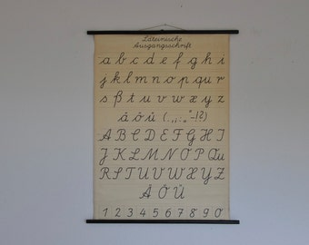 Authentic Vintage Pull Down Alphabet Chart. Handwriting. Black and White.  Vintage German.