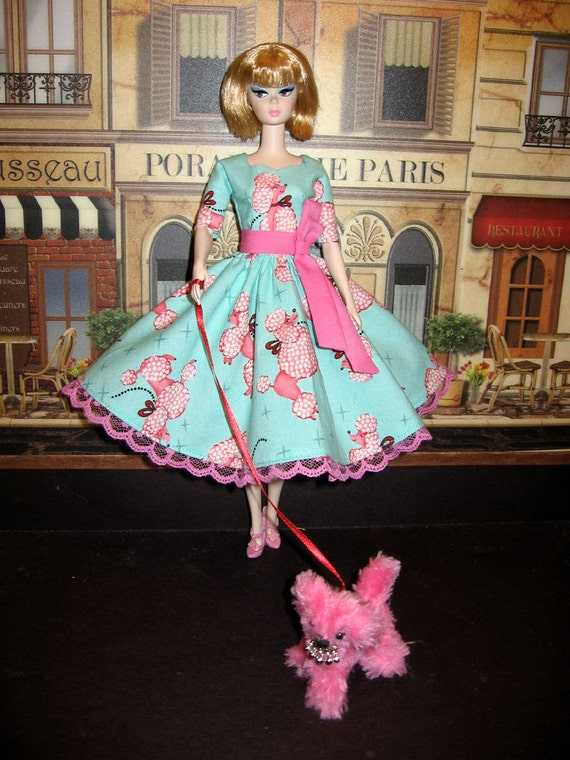 OOAK Silkstone lot of 2 Blue Pink Poodle Parade Swing Dress & Fluffy Puppy NEW