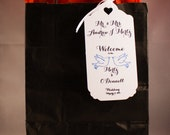 Destination Wedding Welcome Bag Tags - Hotel Wedding Swag Bag Tags  with birds, Personalized to your Guests Names