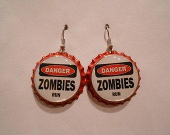 Zombie Danger bottle cap earrings
