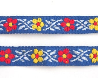 Vintage Scandinavian design blue floral cotton woven folk fabric trim