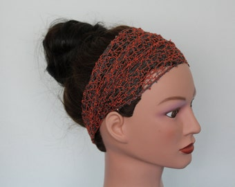 rust Stretchy Wide Lace Yoga headband, fitness headband, Hair band Turban head scarf Head wrap bandana