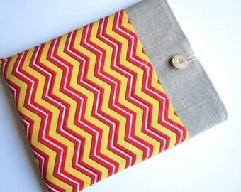 Chevron iPad sleeve, linen iPad sleeve, iPad case, iPad cover, handmade iPad sleeve, iPad smart cover