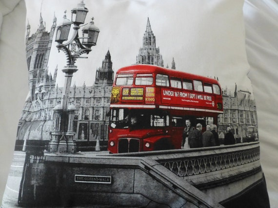 White, Black & Red LONDON Routemaster Doubledecker Bus Pillow Cushion