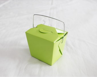10 Small Neon Green Chinese Take Out Boxes for Party Favors or more - SMALL half-pint - Set of 10