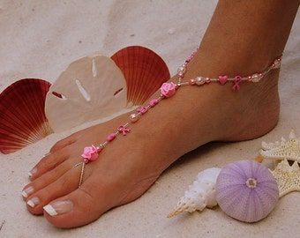 Barefoot Sandal - Think Pink Breast Cancer Awareness Sandal With Clay Roses