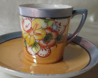1920s Japanese Hand Painted Lustre Demitasse Cup/Saucer. Wedding Gift, Housewarming Gift, Thank You Gift, Mothers Day Gift, Fathers Day Gift