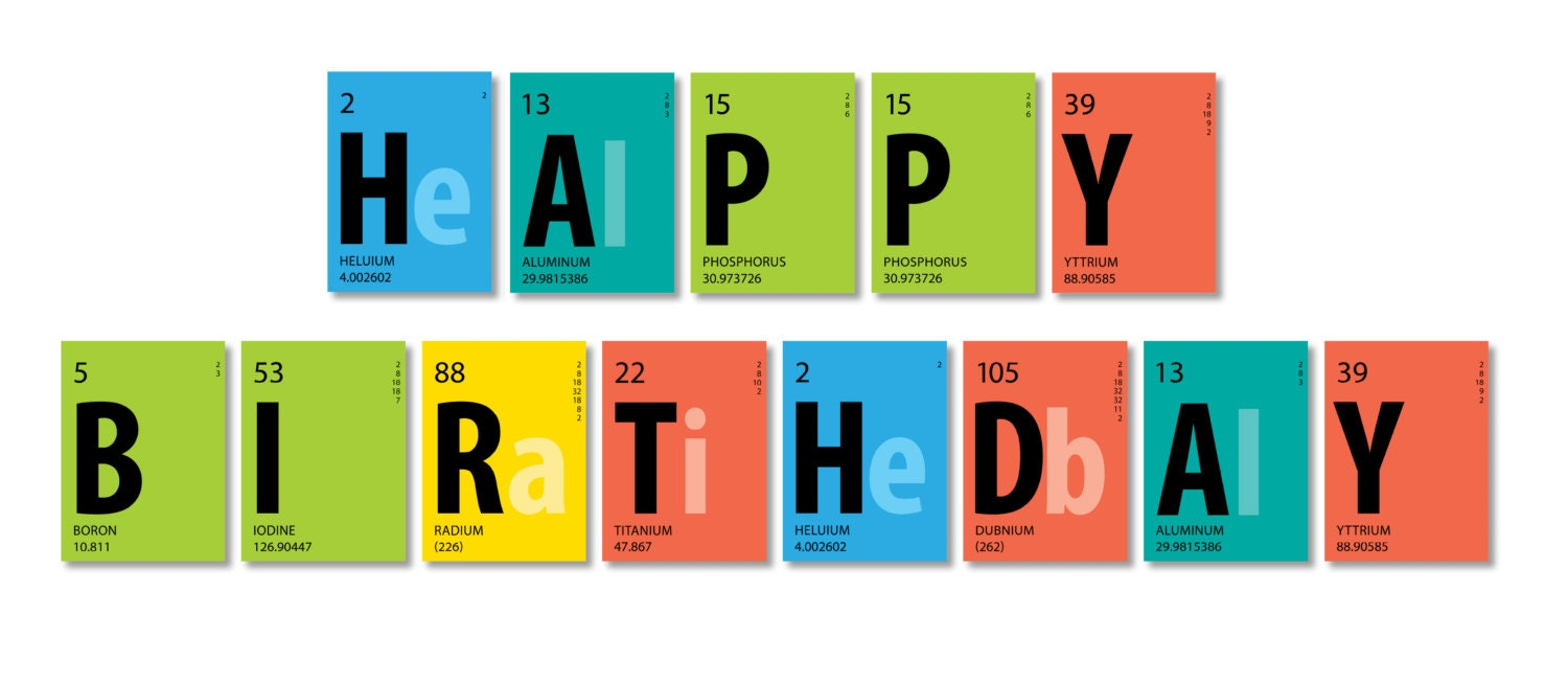 Periodic Table Banner Happy Birthday Banner by BsquaredDesign