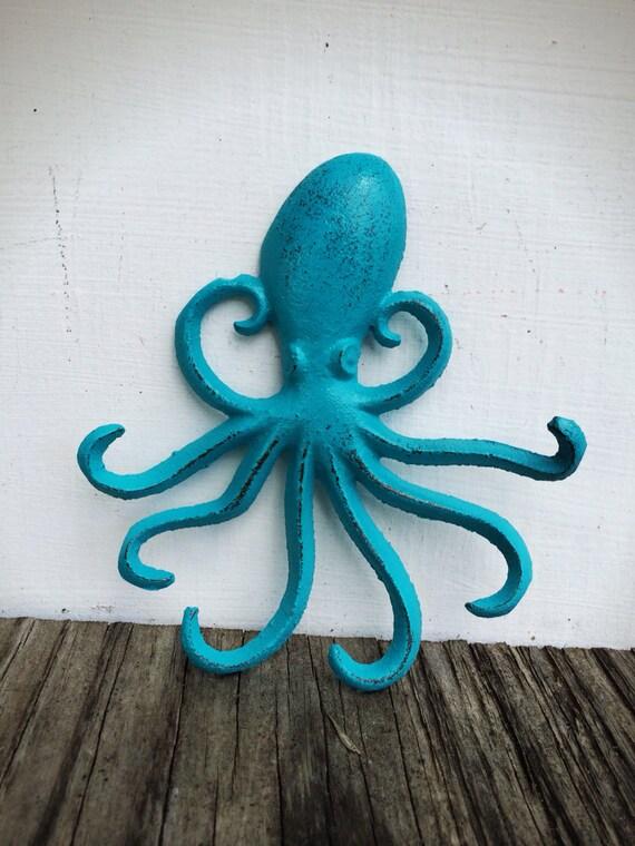Turquoise aqua blue octopus wall hook nautical coat hooks - Coat hook octopus ...
